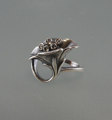Silver 925 flowers-Ring with Swarovski stones Big 58  a9-01222