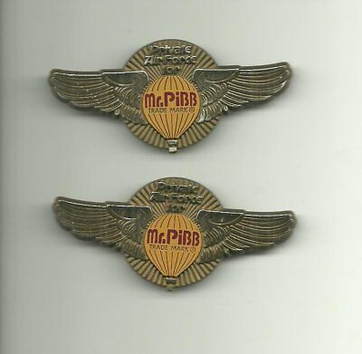 Lot of 2 Private Air Force for Mr. Pibb Plastic Wings Pin (A Coca-Cola Product)