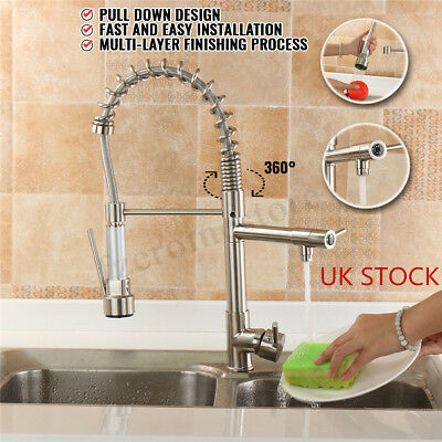 Brushed Nickel Pull Down Spring Kitchen Faucet Swivel Spray Spout