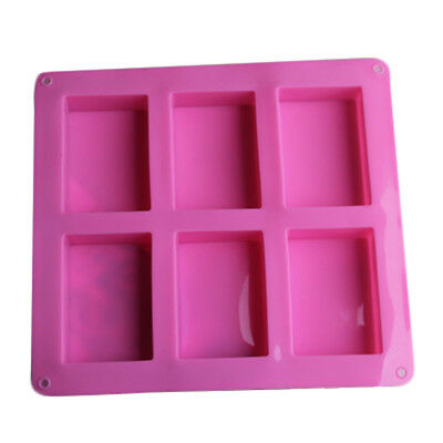 1pcs 6-Cavity Plain Basic Rectangle Soap Cake Mold Silicone for Homemade Craft