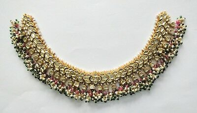 RARE! Vintage Antique Solid 20K Gold jewelry Diamond Polki Necklace India