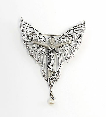 Silver 925 Art Nouveau Brooch Butterfly wife with Swarovski Stones a2-01567