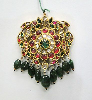 Vintage antique Solid 20K Gold jewelry diamond Polki Ruby Emerald Pendant