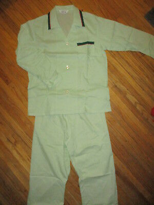mens vtg JC PENNEY PAJAMAS SET Shirt Pants Outfit Green Atomic Mod MidCentury M