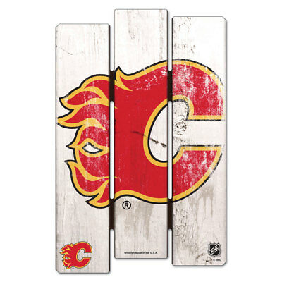 NHL Eishockey CALGARY FLAMES Wood Sign Holzschild Holz Fence