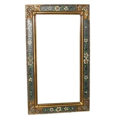 Antique ARTS & CRAFTS MIRROR Hand Painted Floral Gesso Folk Art Gold Silver Gilt