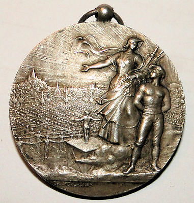 French Antique Silvered Bronze Medal By Desvergnes 1926
