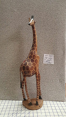 "24"" Tall Hand Craved Giraffe Table Top Figurine Need One Ear Restoration"