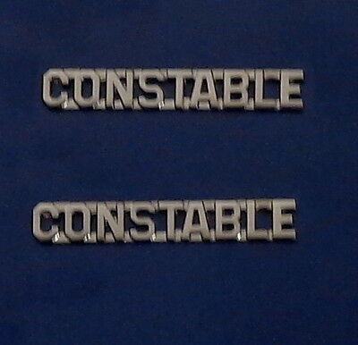 "CONSTABLE silver/nickel 1/4"" Lettering/Letters Pair Collar Pins Rank Insignia"