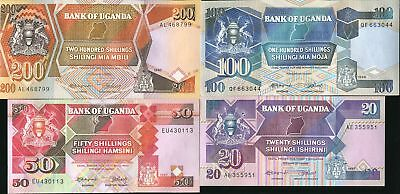 Uganda Set 4 Pcs 20 50 100 200 Shillings 1987 - 1988 P 29 30 31 32 Unc