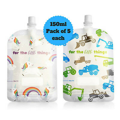 Sinchies 150ml Trucks & Unicorns Reusable Food Pouches Top Spout BPA Free 10pcs