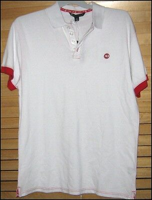 BNWT Mens Campus Crew Size M White Red Distressed Casual Sports Shirt