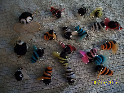 Big Lot Vintage Chenille Bumble Bees Google Eyes For Crafters