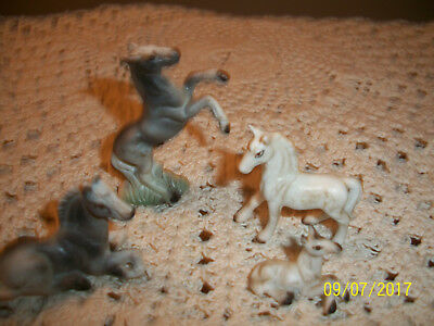 Set/4Miniature Bone China Grey Horses