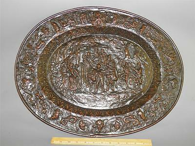 Antique Large Brass Repousse Very Ornate Figural Scenic Wall Hanging Art Tray