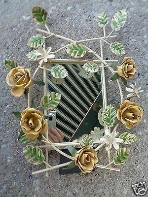 Vintage Italian Italy Tole Floral Yellow Hp Rose Dresser Vanity Table Mirror