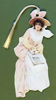 Victorian Bookmark Old-Fashioned Lady w/Newspaper