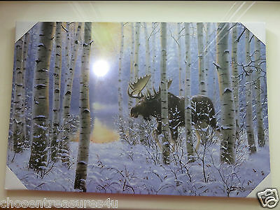 2 MOOSE LED  WALL PLAQUES COTTAGE DECOR  16X 24 in. nature wild animal NEW B-OP