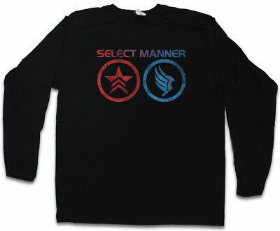 SELECT MANNER LANGARM T-SHIRT Commander Mass Good Effect Evil Sheppard Symbole