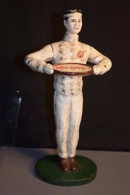 "Original Vintage Coca-Cola Cast Iron Waiter Bellhop Doorstop 8.5""  estate find"