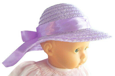 Lavender Straw Hat for Bitty Baby Doll Clothes Sew Beautiful Accessory
