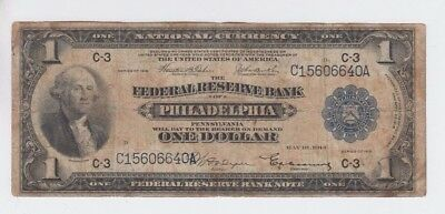 Federal Reserve Note FRBN $1 1918 vg Stains