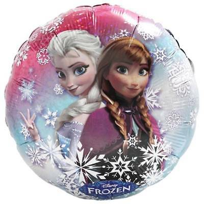 Disney Frozen Holographic Round Foil Mylar Balloon with Anna and Elsa New