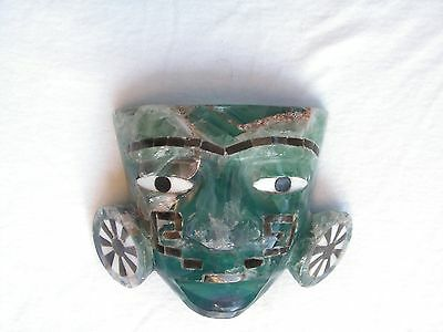 Fluorita Mask Inlaid Of Abalone Shell & Gold Obsidian Stone  New.