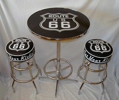 2 Route 66 Get Your Kicks Bar Stools & Pub Table New