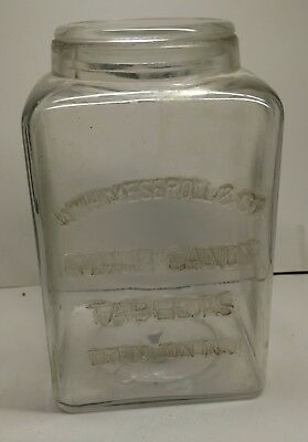 OLD! Wm H Messeroll & Co, COUGH CANDY  STORE JAR, Trenton NJ