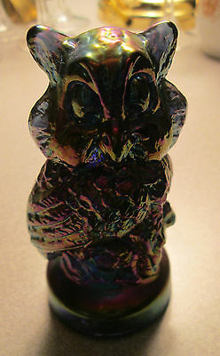 "Vintage Glass Iridescent Blue Purple Owl 4"" EUC Fenton??"
