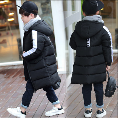 New Boys Kids Cotton padded Long puffa Jacket Thick Hooded Parka quilted Coat J7