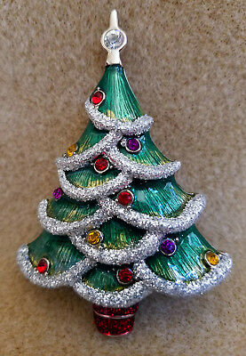 Holiday Lane Enamel Rhinestone Glitter Christmas Tree Pin/Brooch - NIB