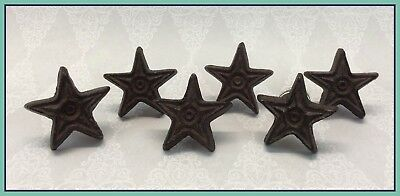 """6 Vintage Antique 1.75"""" Heavy Cast Iron Star Shaped Drawer Pulls Knobs Lot"""