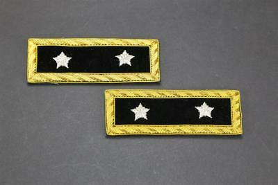 US Civil War Repro 2 Star Major General Rank Embroidered Black Shoulder Boards