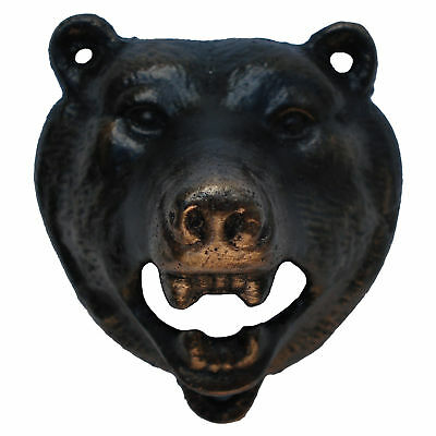 Cast Iron Metal Wall Mount Black Bear Beer/Soda/Pop Top Bottle Opener Pub Decor