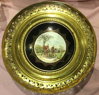 Fox Hunt Hunting Brass and Porcelain Regency Wall Hanging Plate #4