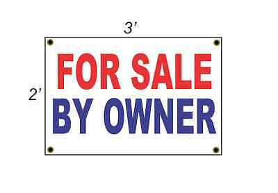 2x3 FOR SALE BY OWNER Red White & Blue Banner Sign NEW Discount Size & Price