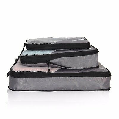 3pc Set Travel Compression Packing Cubes Luggage Organizers W/ Double Zipper