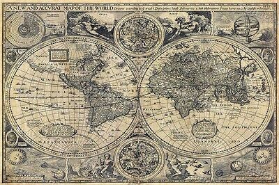 Huge OLD WORLD MAP 1626 Map of the world  ANTIQUE STYLE WALL MAP FINE art print