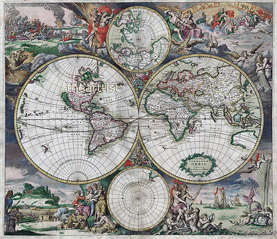 Large Vintage Historic 1689 Old World Copper Plate Map Antique Style Art Print