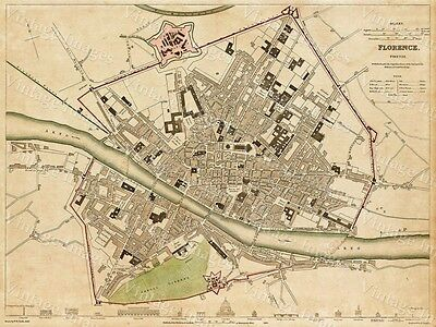GIANT 1835 Historic MAP OF FLORENCE ITALY OLD WORLD STYLE WALL HOME DECOR PRINT