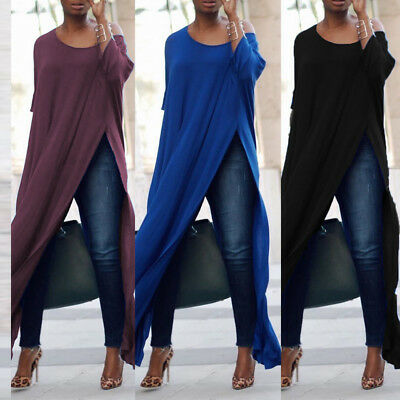 New Women One Off Shoulder Sexy Split Slit Casual Loose Long Tops T Shirt Blouse