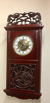 Chinese Oriental Hardwood Musical Westminster Chiming 3 Train Wall Clock