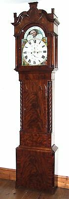Antique Mahogany Rolling Moon Grandfather Longcase Clock : Pennington LIVERPOOL