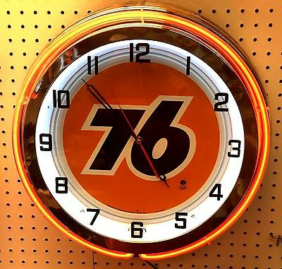 "18"" UNION 76 Gasoline Sign Double Neon Clock Gas Station Oil Lube"