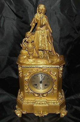 ANTIQUE French Gilt Bronze Bracket Mantel Clock Silk Suspension MOUGIN Serviced