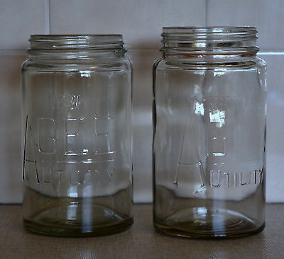 2x Vintage Glass 'New AGEE UTILITY' Preserving Jars Mason