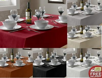 Luxury Plain Linen Look Tableclothes Round Square Oblong Many Colours