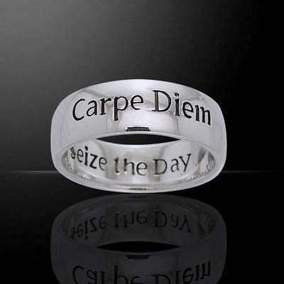 Carpe Diem (Seize the Day) Inscribed Silver Ring - Size Select